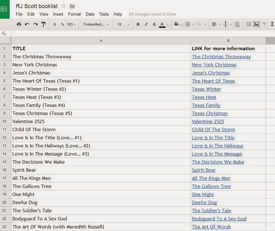 Printable list of all books available on Google Docs - RJ