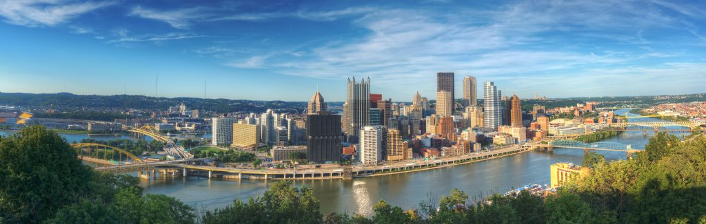 Panorama of downtown Pittsburgh, Pennsylvania, USA at Allegheny River. MM Romance, Gay Romance, Author SIgning
