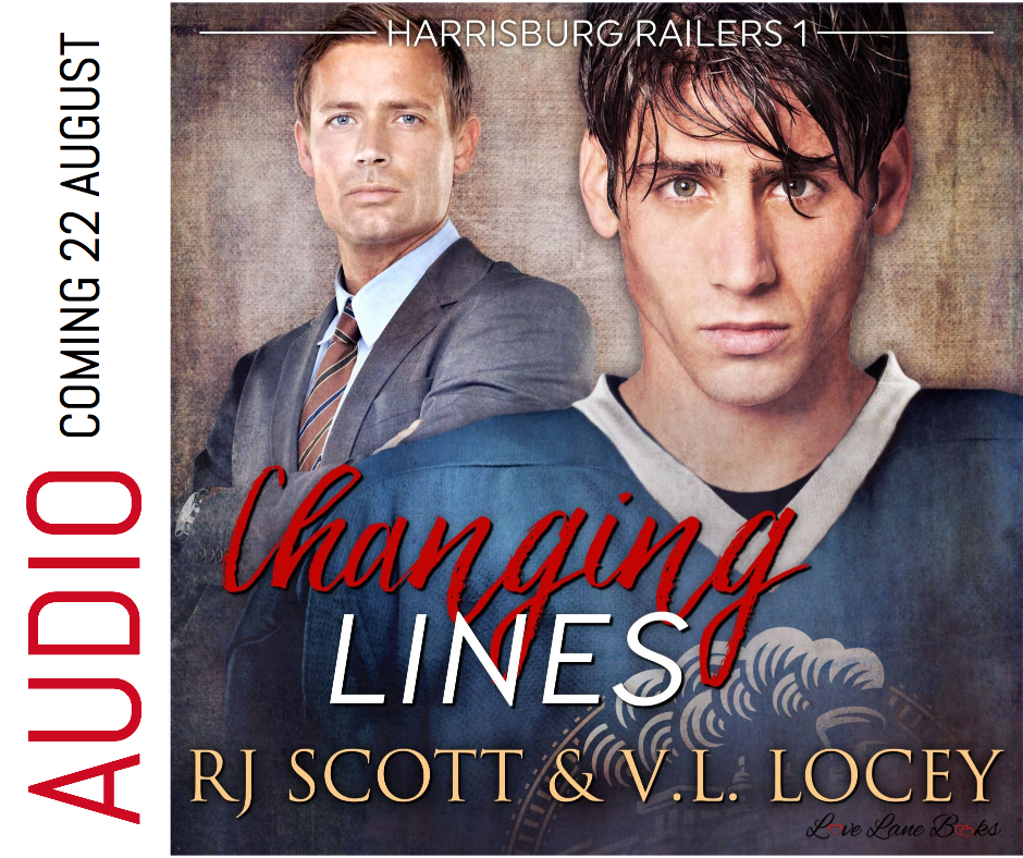 Changing Lines, Audiobook, RJ Scott, V.L. Locey, Harrisburg Railers, MM Romance, Gay Romance, Hockey Romance