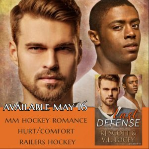 RJ Scott, V.L. Locey, Harrisburg Railers, Last Defense, MM Romance, Hockey Romance