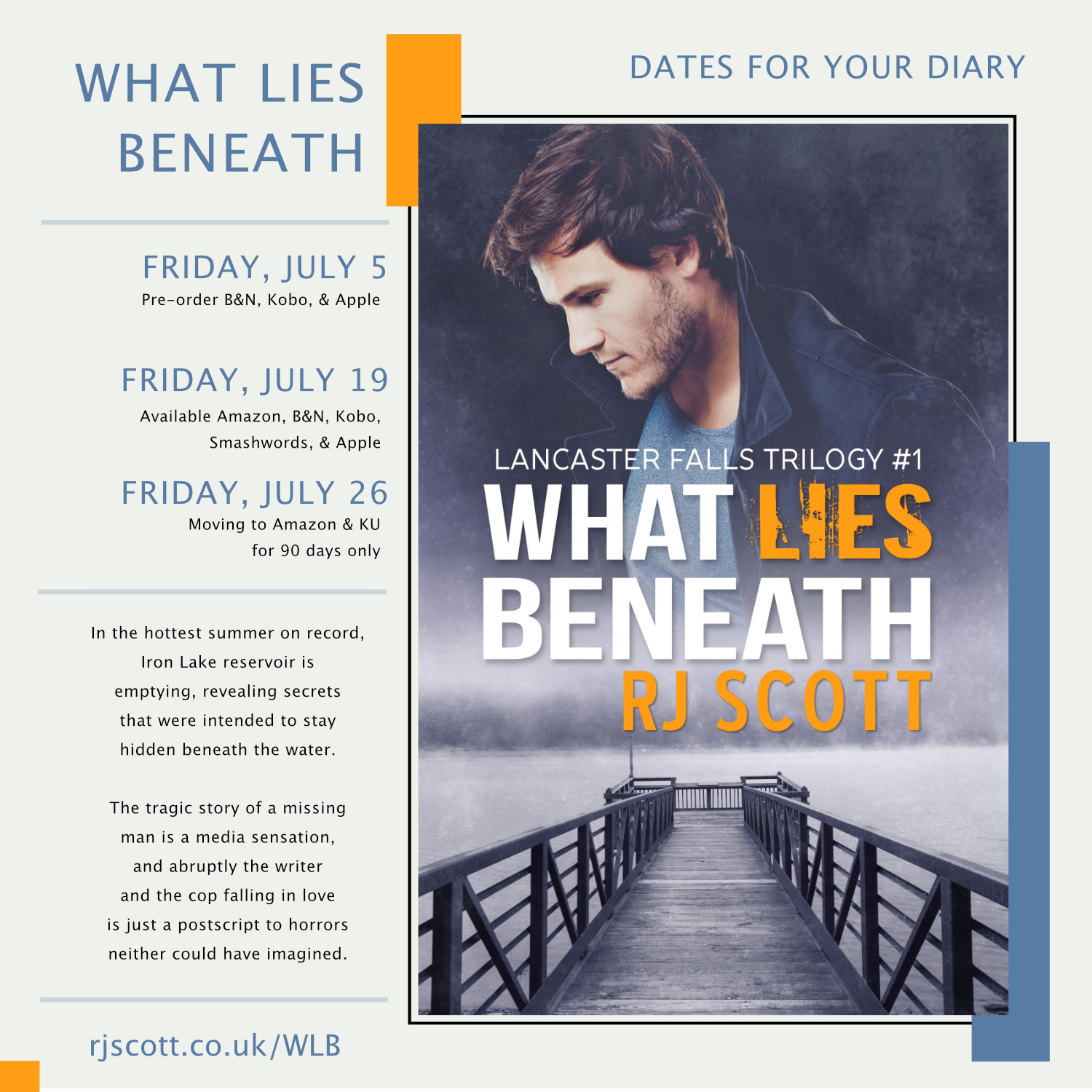 What Lies Beneath Dates for your diary RJ Scott MM Romance