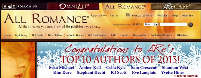 Top Ten Authors of 2013 at All Romance E-Books
