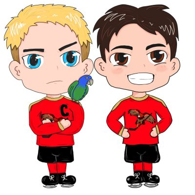 Chibi Art from RJ Scott and VL Locey for our hockey romance MM art by Meredith Russell